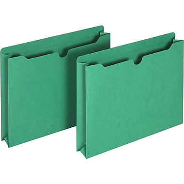 Staples® Colored File Jackets, Letter, 2in. Expansion, Green, 25/Box