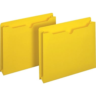 Staples® Colored File Jackets, Letter, 2in. Expansion, Yellow, 25/Box