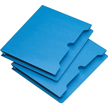Staples® Colored File Jackets, Letter, 2in. Expansion, Blue, 25/Box