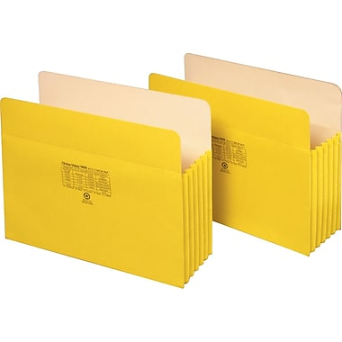 Staples® Colored File Pockets, 5 1/4in. Expansion, Letter, Yellow, Each