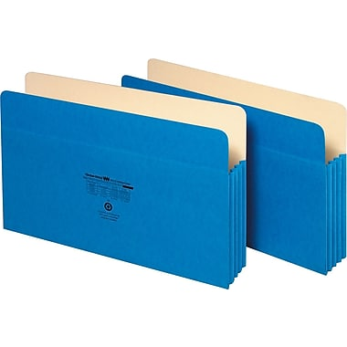 Staples Colored Expanding File Pockets, 3 1/2in. Expansion, Legal, Blue, Each