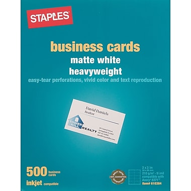Staples® Inkjet Business Cards, 2in. x 3 1/2in., Matte, White, 500/Cards