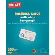 Staples® Inkjet Business Cards, 2 x 3 1/2, Matte, White, 500/Cards