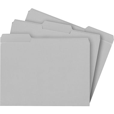 Staples® Colored File Folders w/ Reinforced Tabs, Letter, 3 Tab, Gray, 100/Box