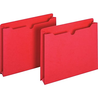 Staples® Colored File Jackets, Letter, 2in. Expansion, Red, 25/Box