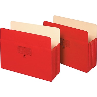Staples Colored File Pockets, 5 1/4in. Expansion, Letter, Red, Each
