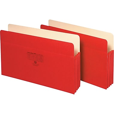 Staples Colored Expanding File Pockets, 3 1/2in. Expansion, Legal, Red, Each