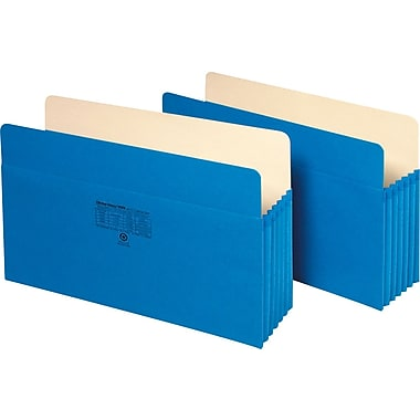 Staples® Colored Expanding File Pockets, 5 1/4in. Expansion, Legal, Blue, Each