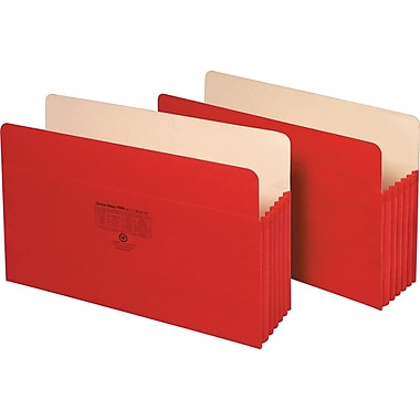Staples Colored Expanding File Pockets, 5 1/4in. Expansion, Legal, Red, Each