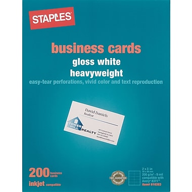 Staples® Inkjet Business Cards, 2in. x 3 1/2in., Glossy, White, 200/Cards