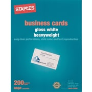 "Staples® Inkjet Business Cards, 2"" x 3 1/2"", Glossy, White, 200/Cards"