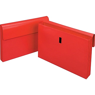 Staples Laminated Expanding Wallet, Legal, 3 1/2in. Expansion, Red, Each