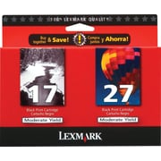 Lexmark 17/27 Black and Color Ink Cartridges (10N0595), 2/Pack