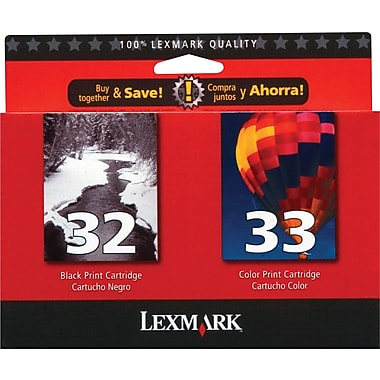 Lexmark 32/33 Black and Color Ink Cartridges (18C0532), 2/Pack