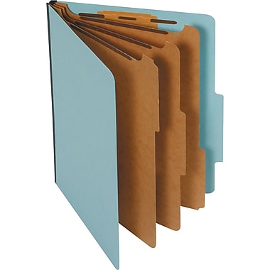 Staples® Colored Pressboard Classification Folders, Letter, 3 Partitions, Light Blue, 20/Pack