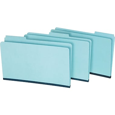 Staples Pressboard File Folders, Legal, 3 Tab, Blue, 25/Box