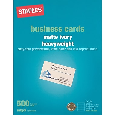 Staples® Inkjet Business Cards, 2in. x 3 1/2in., Matte, Ivory, 500/Cards
