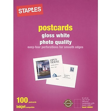 Staples® Inkjet Postcards, 5 1/2in. x 4 1/4in., Gloss, 100/Pack