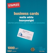 Staples® Inkjet Business Cards, 2 x 3 1/2, Matte, White, 1000/Cards