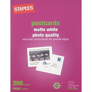 Staples® Inkjet Postcards, 5 1/2in. x 4 1/4in., Matte, 200/Pack