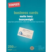 "Staples® Inkjet Business Cards, 2"" x 3 1/2"", Matte, Ivory, 250/Cards"