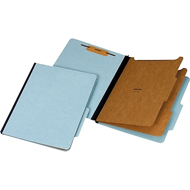 Staples® 100% Recycled Classification Folders, Letter, 2 Partitions, Blue, 20/Box