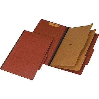 Staples 100% Recycled Classification Folders, Legal, 2 Partitions, Red, 20/Box