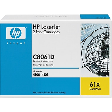 HP 61X Black Toner Cartridges (C8061D), High Yield Twin Pack