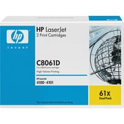 HP 61X Black Toner Cartridges (C8061D), High Yield, Twin Pack