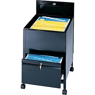 Safco Tub File with Locking Drawer, Black, 25 3/4in. Deep, Letter Size – 28in.H x 17in.W