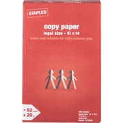 Staples® Copy Paper, 8 1/2 x 14, Ream