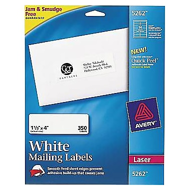 Avery 5262 White Laser Address Labels, 1-1/3in. x 4in.