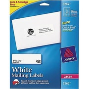 "Avery® 5262 White Laser Address Labels, 1-1/3"" x 4"""