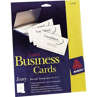 Avery Laser Business Cards, Ivory, 2in. x 3 1/2in., 250/Cards