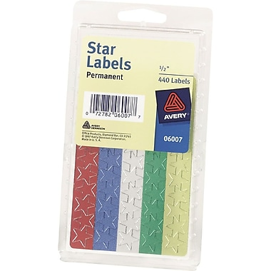 Avery 6007 Self-Adhesive 1/2in. Foil Star Labels, Assorted, 440/Pack