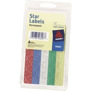 Avery® 6007 Self-Adhesive 1/2 Foil Star Labels, Assorted, 440/Pack
