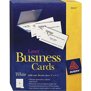 Avery Laser Business Cards, White, 2in. x 3 1/2in., 2,500/Cards