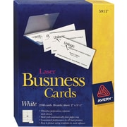 "Avery® 5911 Laser Business Cards, White, 2"" x 3 1/2"", 2500/Pack"