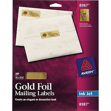 Avery 8987 Gold Foil Inkjet Return Address Labels, 3/4in. x 2-1/4in., 300/Box