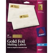 Avery® 8987 Gold Foil Inkjet Return Address Labels, 3/4 x 2-1/4, 300/Box