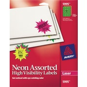 Avery® 5995 Neon Laser Burst ID Labels, 2-1/4, Assorted Colors, 180/Box