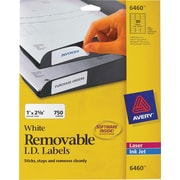 Avery® 6460 Removable Inkjet/Laser Labels, 1 x 2-5/8, 750/Pack
