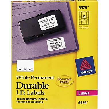 Avery 6576 White Permanent Durable ID Laser Labels, 1-1/4in. x 1-3/4in., 1,600/Pack