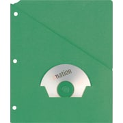 Oxford Recycled Slash Pocket Project Folders, 3-Hole Punched, Green