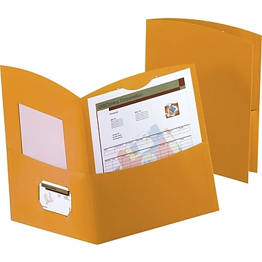 Contour Two Pocket Portfolios, Orange, 25/Box