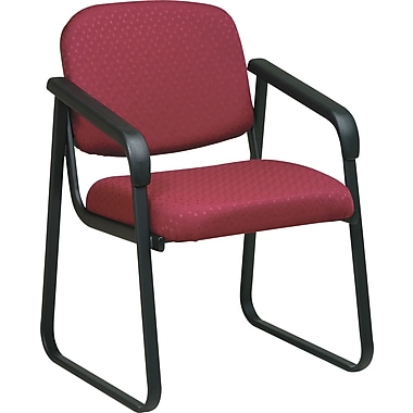 Office Star  Deluxe Sled Base Guest Chair with Arms, Cabernet
