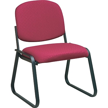 Office Star Deluxe Sled Base Armless Guest Chair, Cabernet