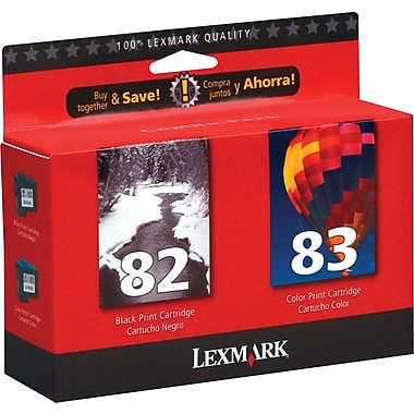 Lexmark 82/83 Black and Color Ink Cartridges (18L0860), 2/Pack