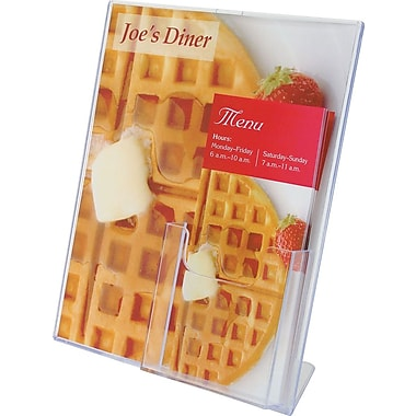 Staples® Superior Image® Slanted Sign with Leaflet Holder, 11in. x 8 1/2in.