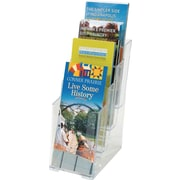"Staples Clear Plastic 4-Tier Brochure Size Literature Holder, 10""H x 4 1/4""W x 6 1/4""D, Each (16653-CC)"